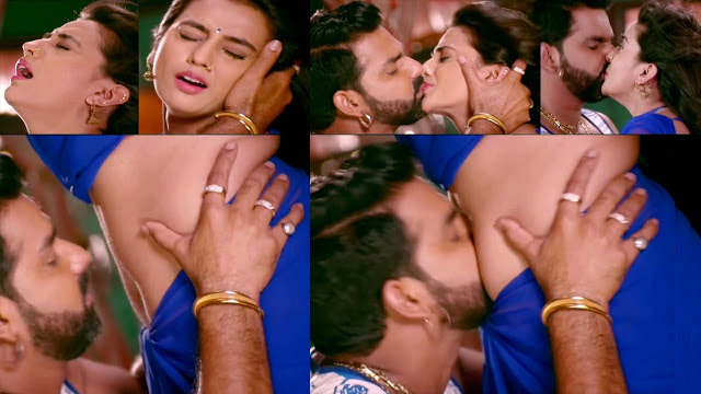 Akshara Singh hot navel kiss in saree non stop kissing sexy expressions latest slow motion edit HD