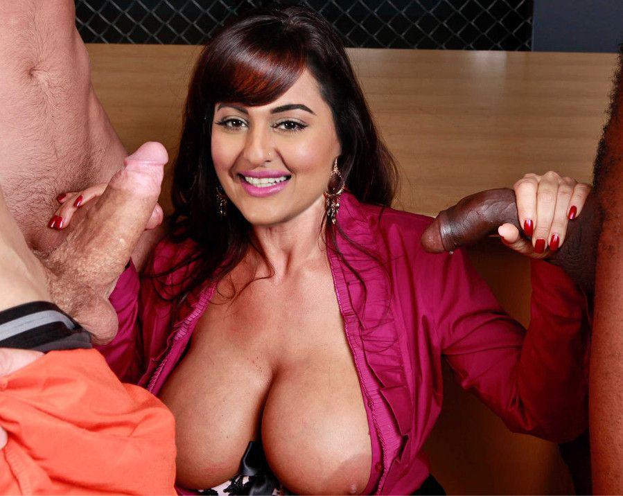Big boobs Sonakshi Sinha nipple slip handjob xxx pic