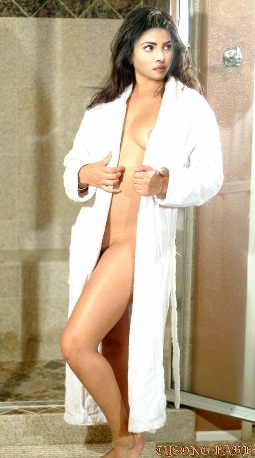 Priyanka Chopra naked sexy legs in bathrobe in bathroom sex