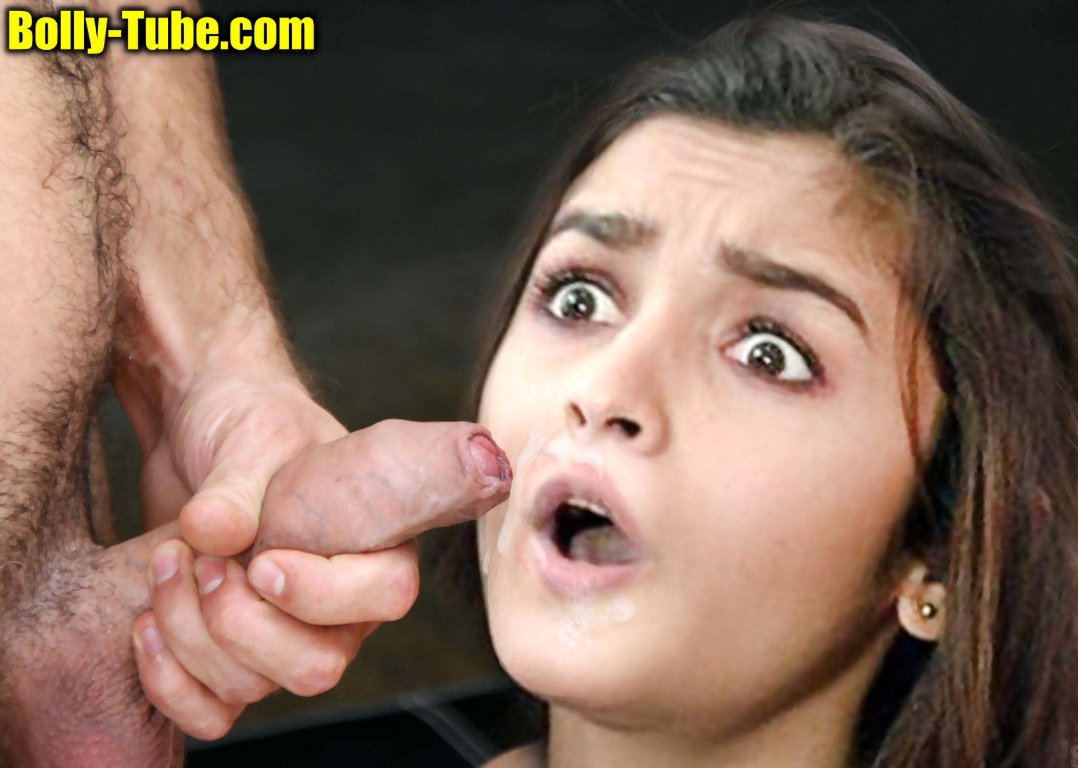 Wide open mouth for blowjob Alia Bhatt cum on her lip