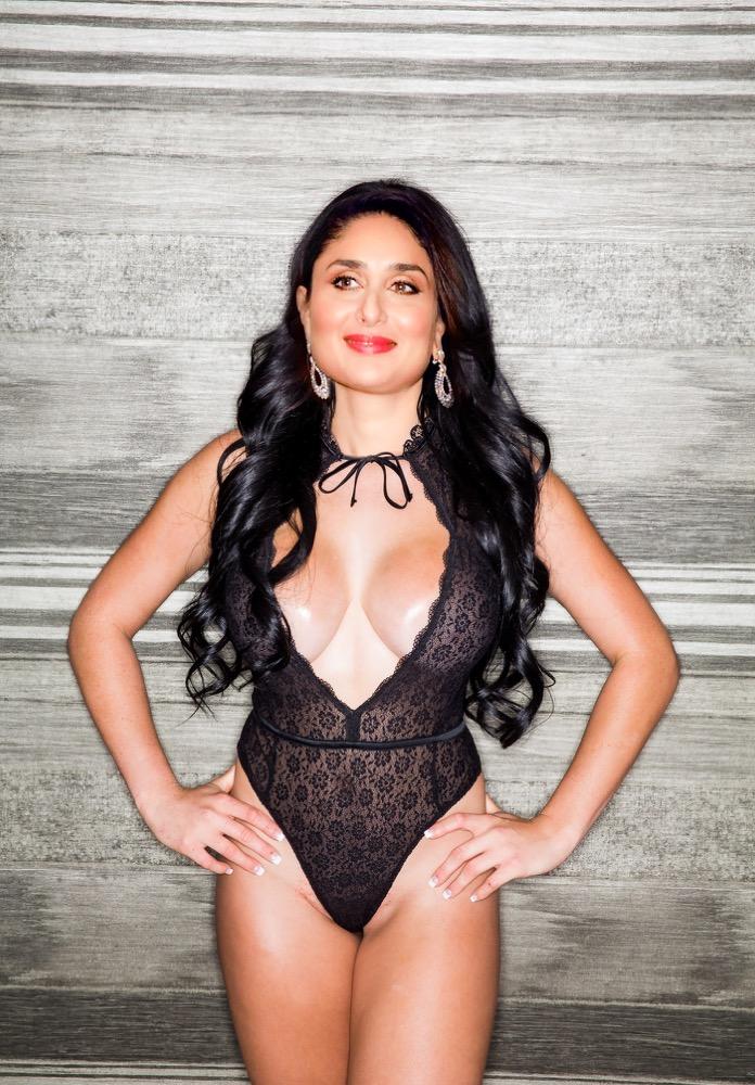 Kareena Kapoor hot black lingerie night dress photo for fans