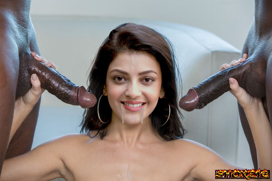 Kajal Aggarwal hand job two black cock cum on her mouth
