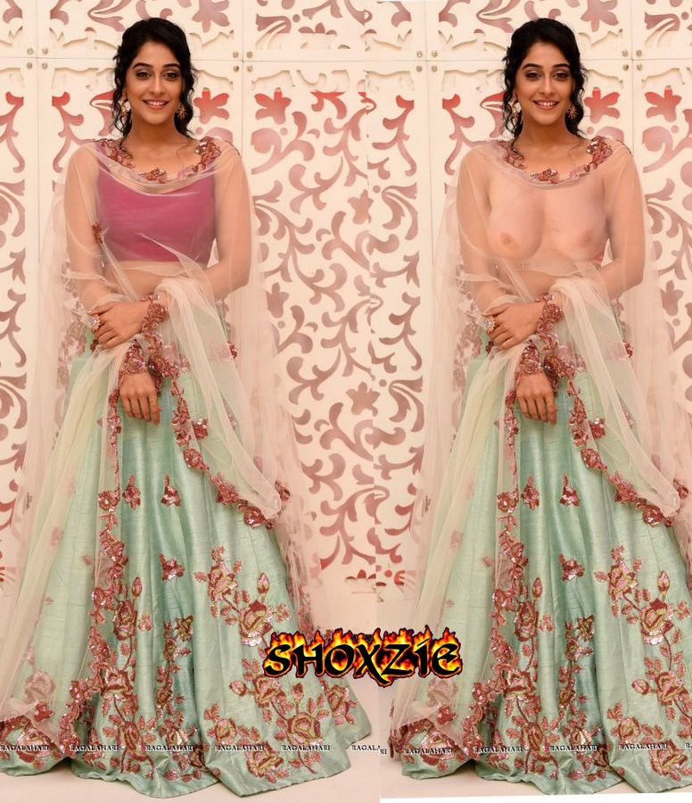 Regina Cassandra boobs show without blouse in half saree