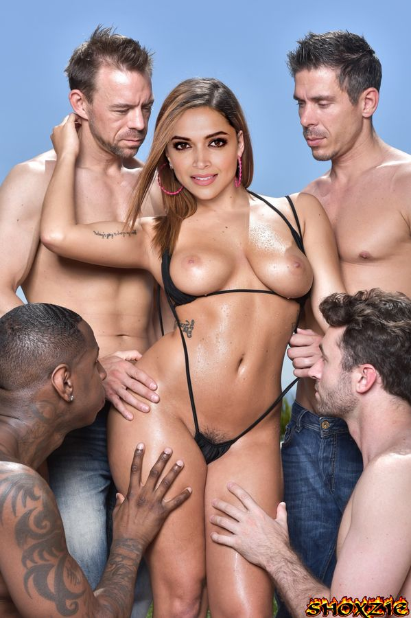 Sexy Deepika Padukone with many men waiting for gangbang