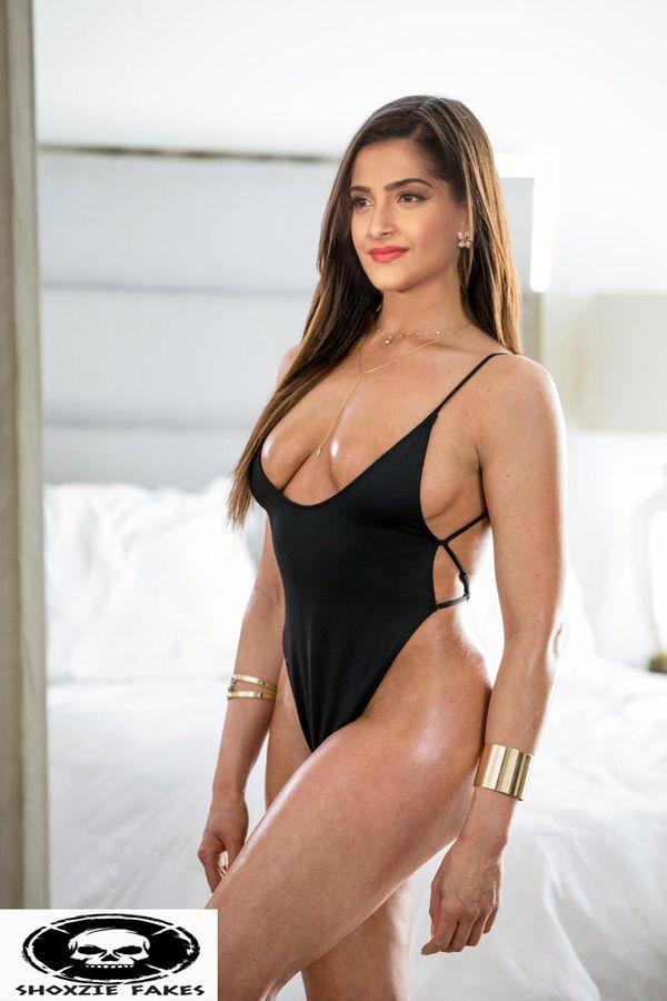 Sonam Kapoor sexy black lingerie xxx image