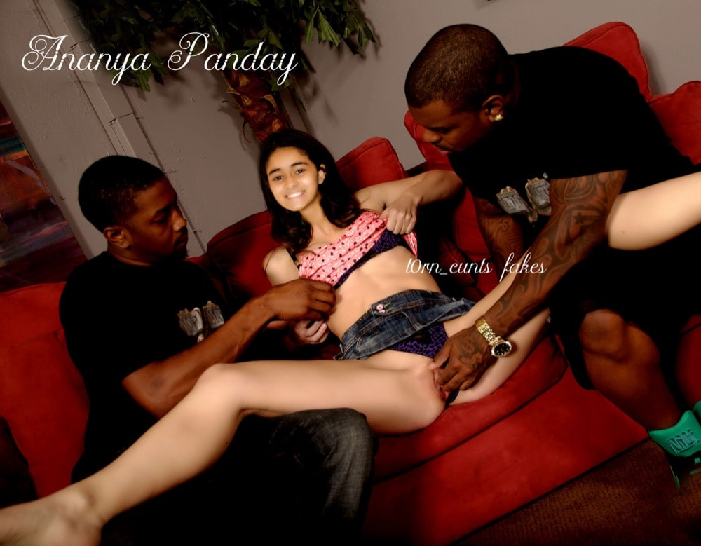 Black man fingering Ananya Pandey shaved pussy on couch