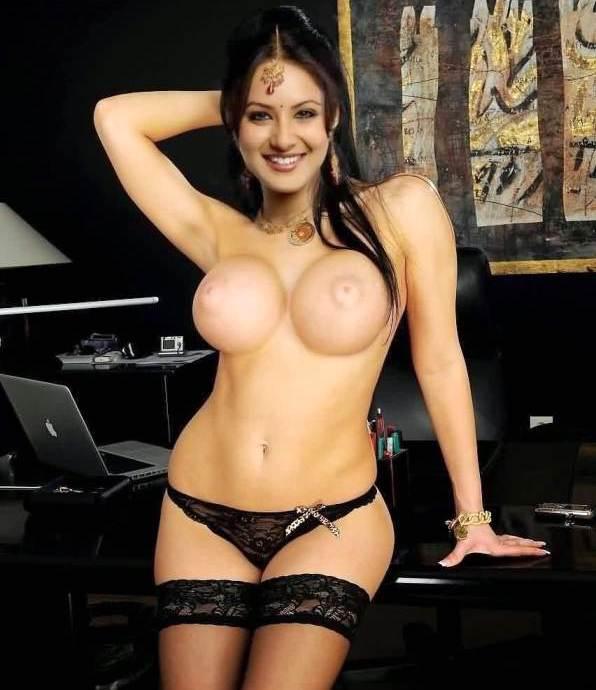 Pooja Bose topless naked boobs in black panties pic