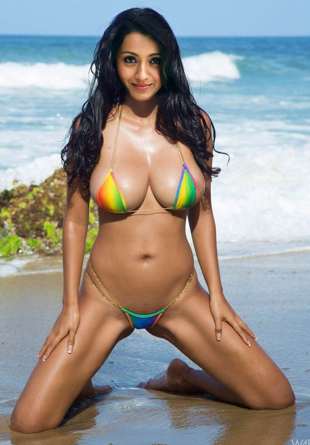 Big fake boobs Trisha bikini photo without dress in beach