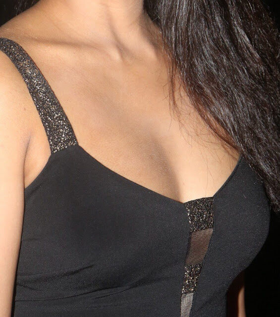 Madhu Shalini milky white cleavage low neck black dress small boobs xxx