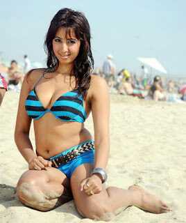 Sanjana beach stills in bikini