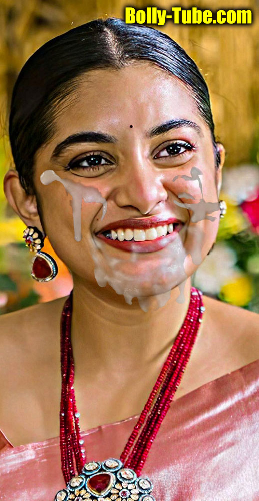 Nivetha Thomas sexy facial cumshot with hot saree fake picture